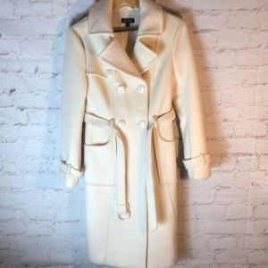 BEBE CREAM WOOL W/RABBIT FUR TRENCH COAT:6-/1-8/31